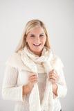 Joli femme de l'hiver dans l'écharpe Images libres de droits
