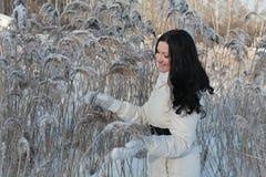 Joli femme en stationnement de l'hiver image libre de droits