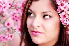 Joli femme parmi des fleurs de pêche photos libres de droits