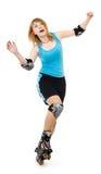 Joli femme sur des patins de rouleau Images libres de droits