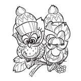 Joli hibou sur la branche d'arbre illustration stock