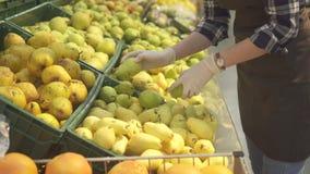 Joli jeune travailleur féminin de magasin dans un tablier brun et sortes blanches de gants par les fruits et les poires juteux fr banque de vidéos
