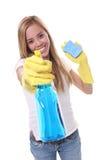 Joli nettoyage de femme Photographie stock libre de droits