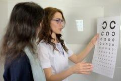 Joli opticien d'optom?triste d'ophtalmologue de jeune femme montrant des diagrammes d'essai d'acuit? visuelle et les expliquant a image libre de droits