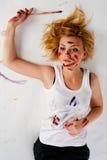Joli peintre féminin Photos stock