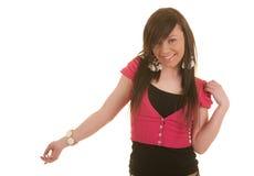 Joli pointage de smiling& de brunette Image stock