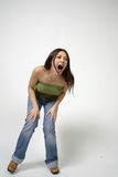 Joli rire de femme Photo stock