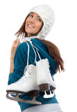 Jolie activité de sport d'hiver de patinage de glace de femme Photographie stock