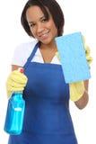 Jolie bonne lavant avec l'éponge Photo stock