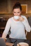 Jolie brune ayant le café utilisant l'ordinateur portable Photographie stock libre de droits
