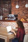 Jolie brune ayant le café utilisant l'ordinateur portable Image stock