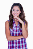 Jolie brune réfléchie avec des doigts sur le menton image libre de droits