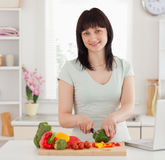 Jolie cuisson de femme de brunette Photo libre de droits