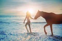 Jolie dame marchant avec son ami de cheval Image stock