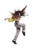 Jolie danseuse de femme sur le blanc photographie stock