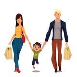 Jolie famille avec des paquets de boutique illustration de vecteur