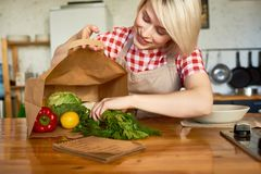 Jolie femme au foyer dans la cuisine confortable photographie stock
