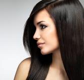 Jolie femme avec de longs poils bruns image libre de droits