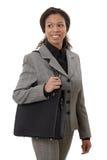 Jolie femme d'affaires allant travailler le sourire Photo libre de droits