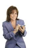 Jolie femme d'affaires avec PDA Image libre de droits