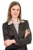 Jolie femme d'affaires. D'isolement sur le blanc Images libres de droits