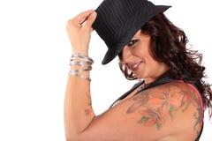 Jolie femme de chapeau Photographie stock