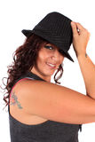 Jolie femme de chapeau Photo stock