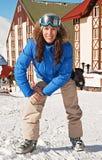 jolie femme de ski de ressource Photos stock
