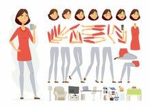 Jolie femme - dirigez le constructeur de caractère de personnes de bande dessinée illustration libre de droits
