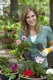 Jolie femme plantant des fleurs dans son jardin Photos stock