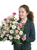 Jolie fille avec des fleurs Images stock