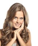 Jolie fille avec des yeux bleus blonds Images libres de droits