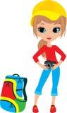 Jolie fille avec l'appareil-photo Photos stock