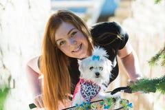 Jolie fille avec la bicyclette et le chien maltais Images stock