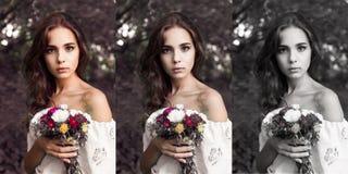Jolie fille avec le bouquet des fleurs Photos stock