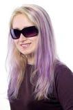 Jolie fille avec le cheveu violet Image libre de droits