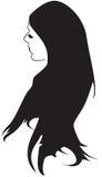 Jolie fille avec le long cheveu noir Image stock