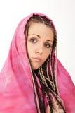 Jolie fille avec le voile rose Images stock