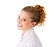 Jolie fille avec les cheveux rouges - femme d'isolement sur le fond blanc images stock