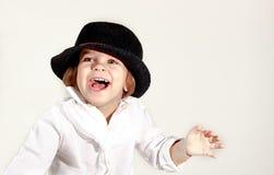 Jolie fille Beau bébé d'isolement sur le fond blanc Beau glaza Emotsii, bonheur, joie, amour, Image stock