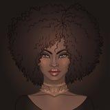 Jolie fille d'Afro-américain Illustration de vecteur de femme de couleur Image stock