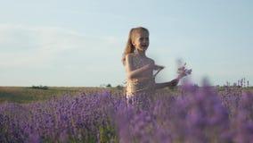 Jolie fille d'enfant dans une humeur joyeuse en nature banque de vidéos