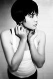 Jolie fille dans B&W Images libres de droits