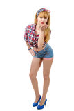 Jolie fille de pin-up en bref envoyant des baisers Photo libre de droits