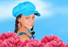 Jolie fille de source de 10 ans Image stock