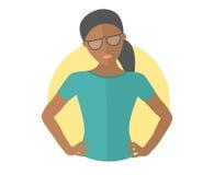 Jolie fille noire résolue en verres Lets le font concept Icône plate de conception Femme décisive avec des bras sur les hanches I illustration stock
