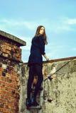Jolie fille sur l'échelle en bois image libre de droits