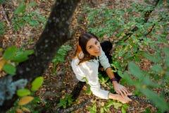 Jolie jeune femme dans un arbre passant le temps en nature photo stock