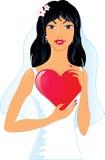 Jolie mariée avec le coeur Images libres de droits