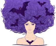 Jolie sorcière de Halloween avec des battes de vol Images stock